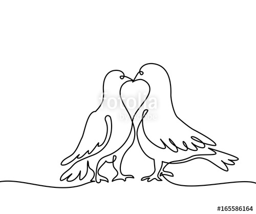 500x417 Continuous One Line Drawing. Two Doves Logo. Black And White