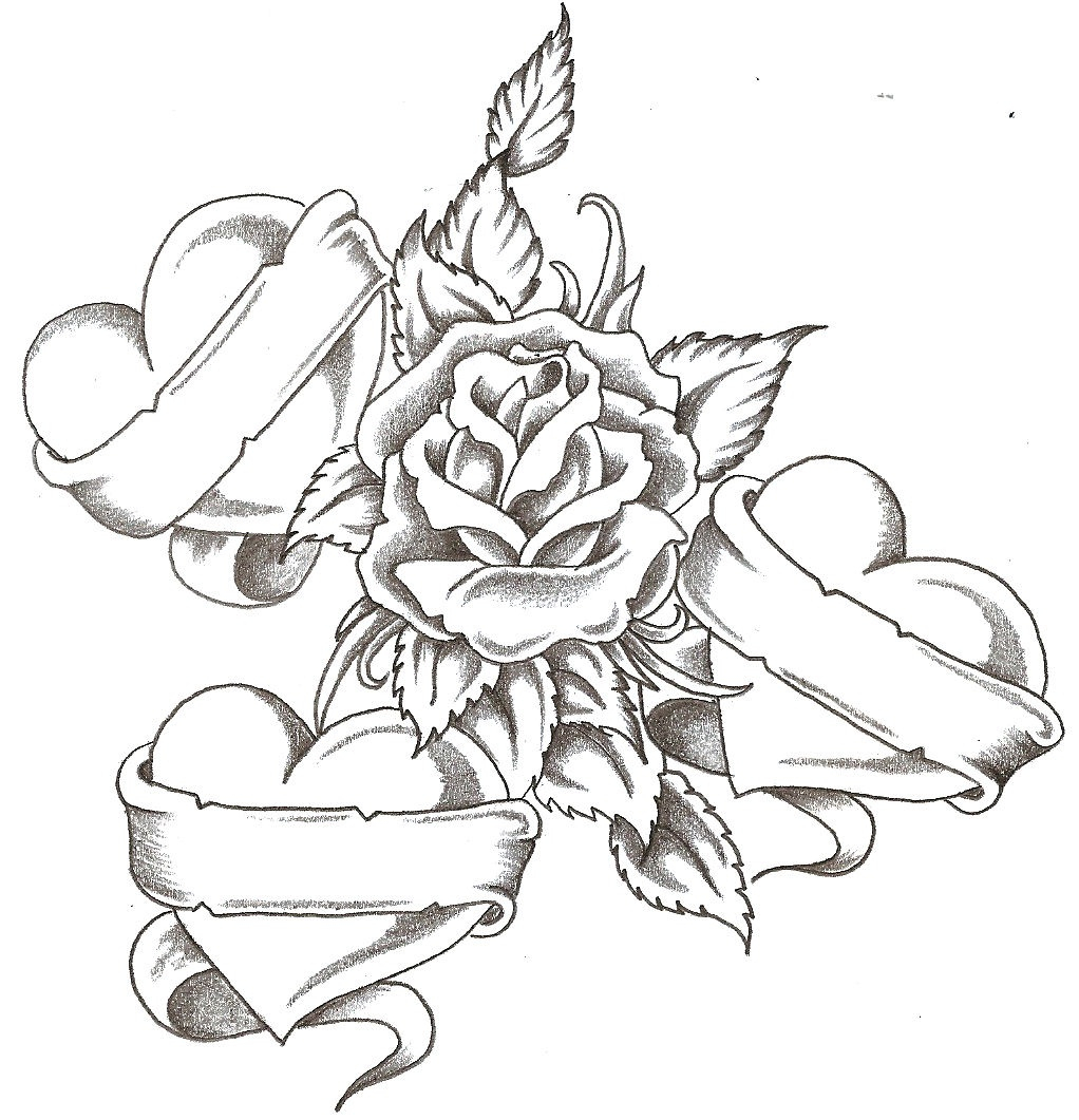 1022x1061 Heart With Banner And Rose Drawings Rose And Banner Line Art