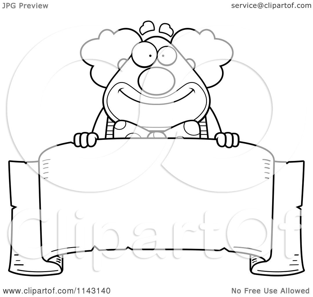 1080x1024 Cartoon Clipart Of A Black And White Banner And Chubby Circus