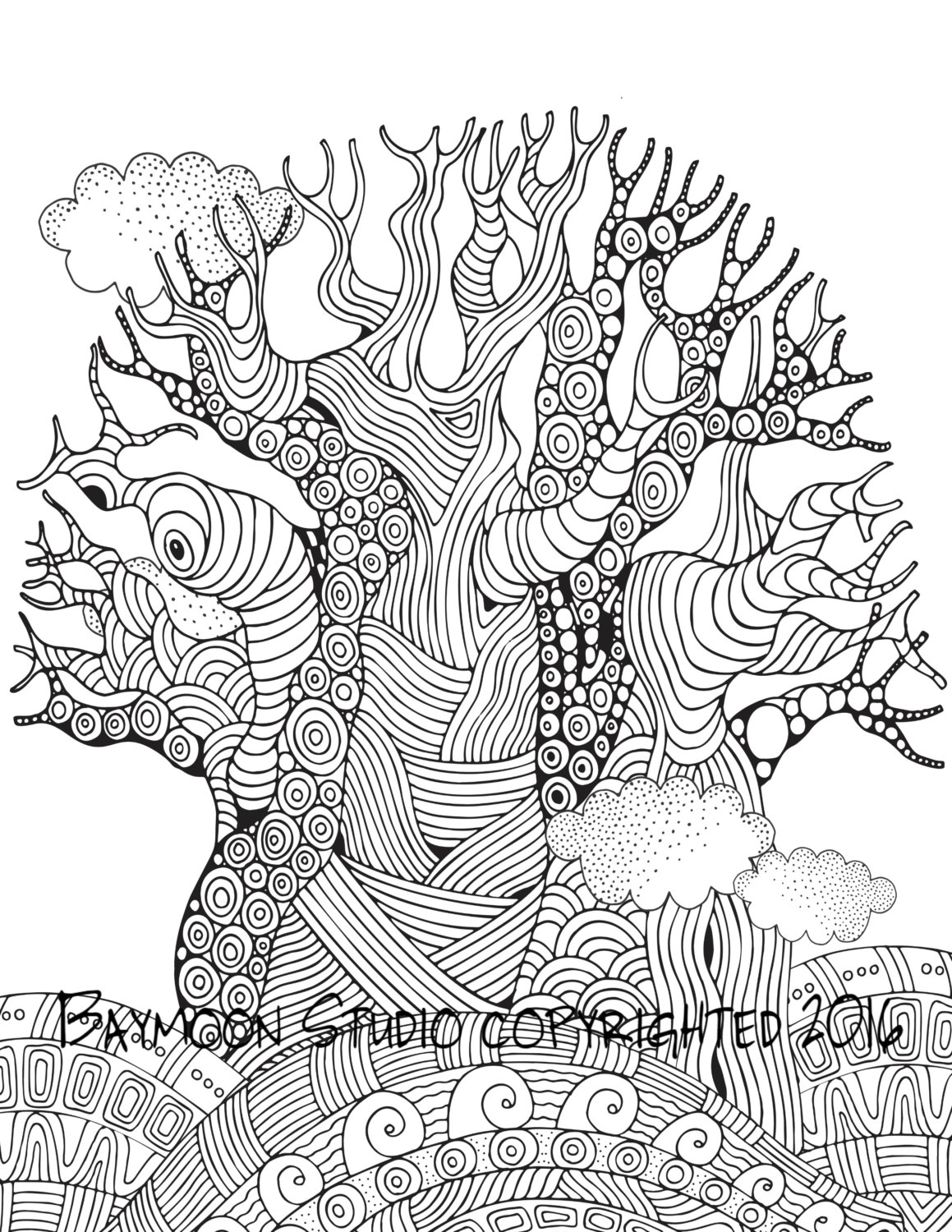 1159x1500 African Baobab Tree Coloring Page Printable By Baymoonstudio