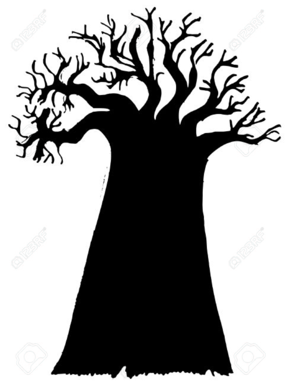 975x1300 Black Silhouette Of Baobab Royalty Free Cliparts, Vectors,