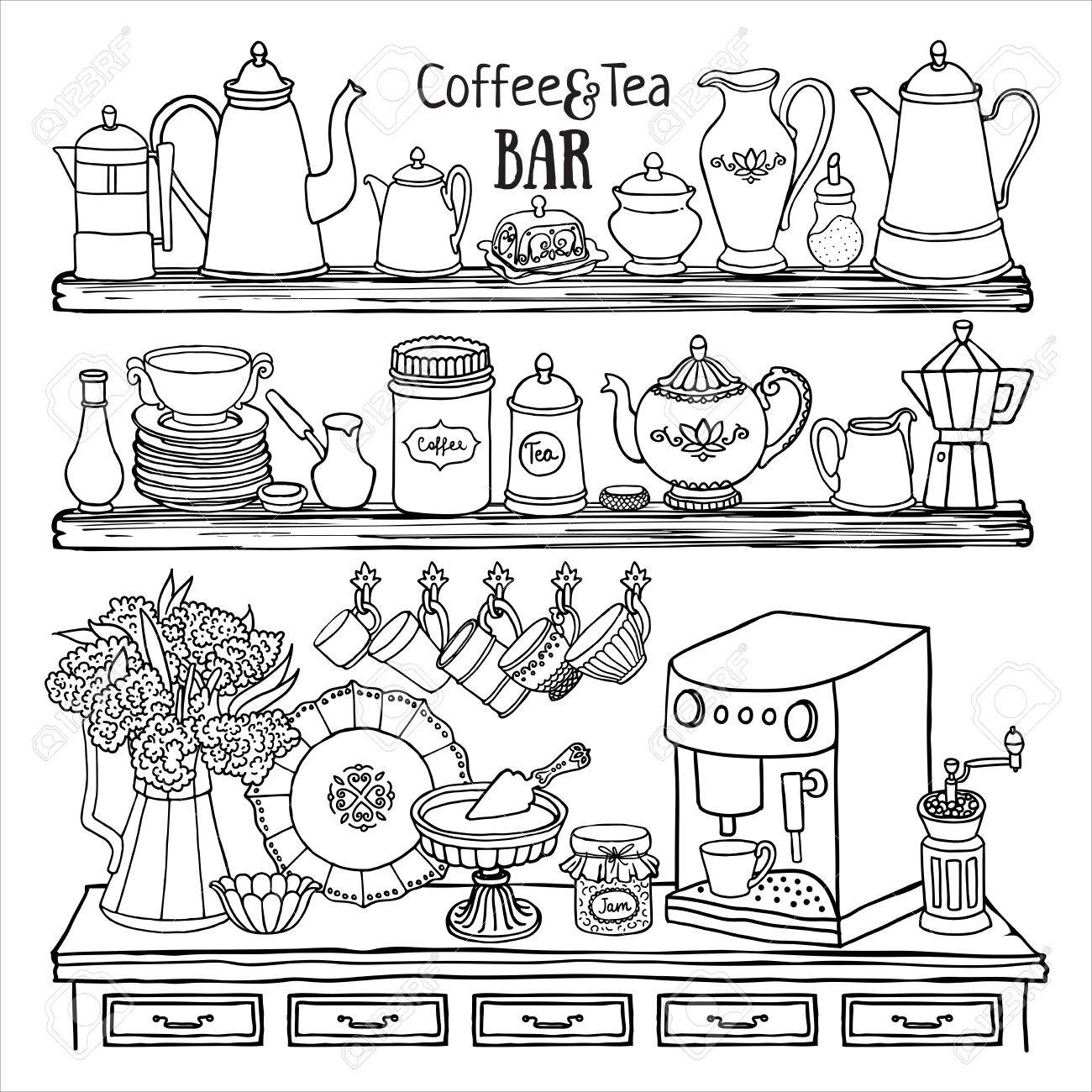 1300x1300 Hand Drawn Set Of Coffee And Tea Bar. Black And White Sketch