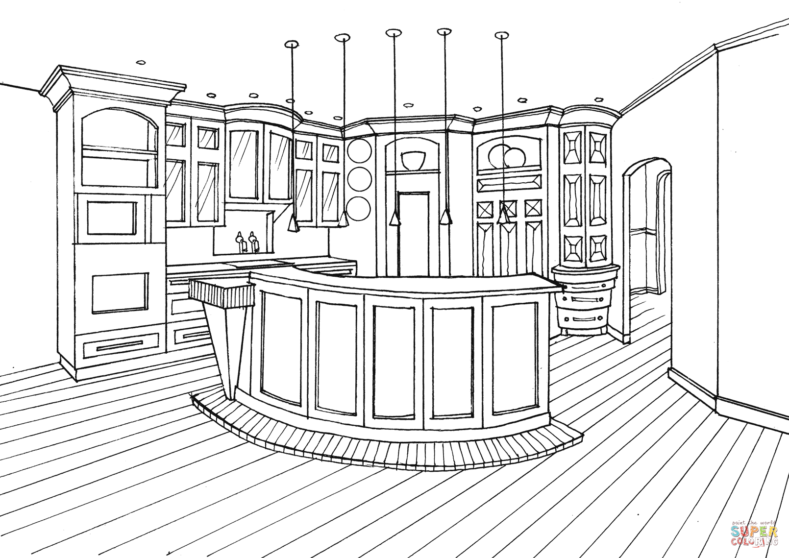 1610x1139 Kitchen With Bar Counter Coloring Page Free Printable Coloring Pages