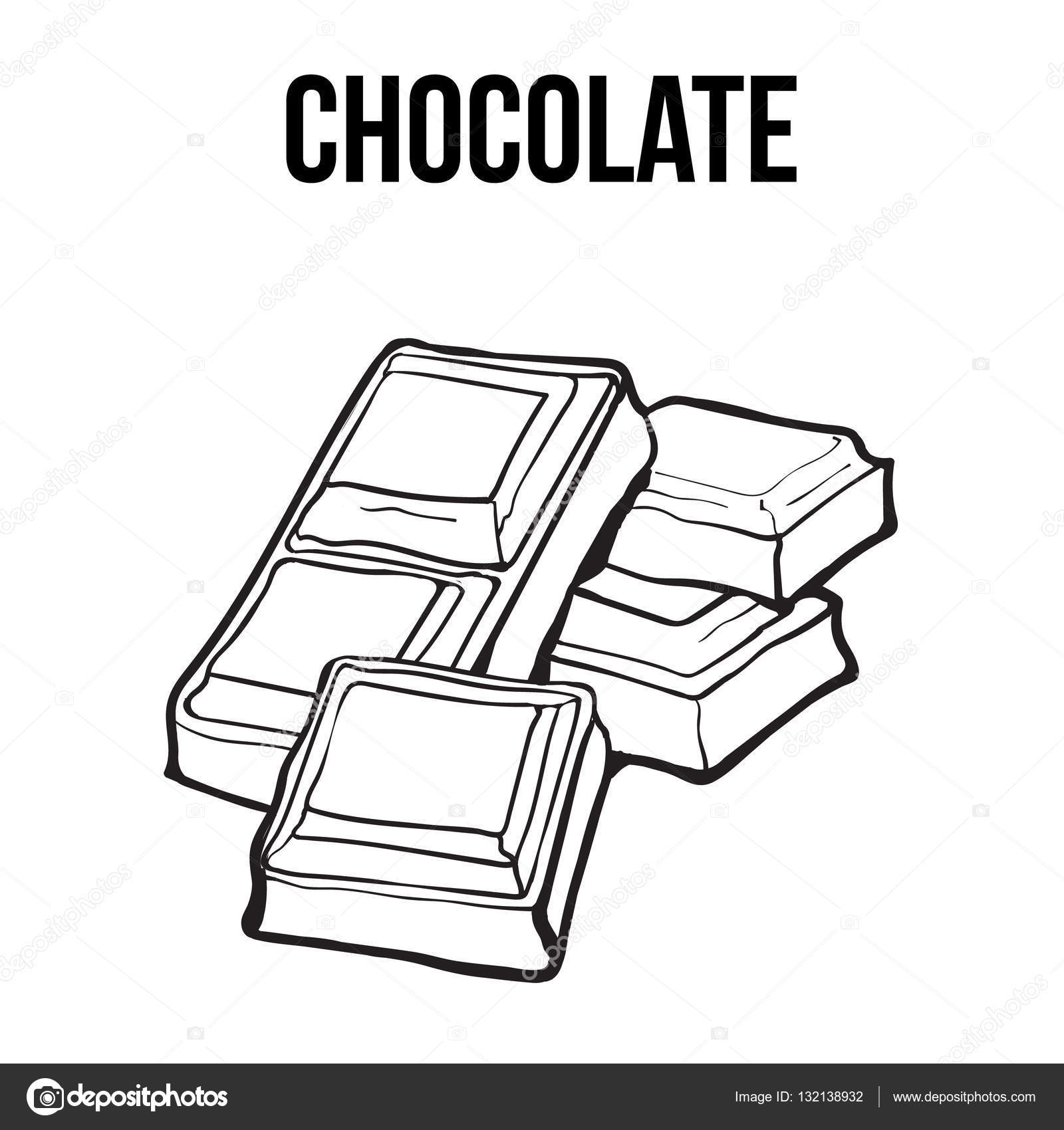 1600x1700 Pieces Of Black And White Chocolate Bar, Isolated Vector