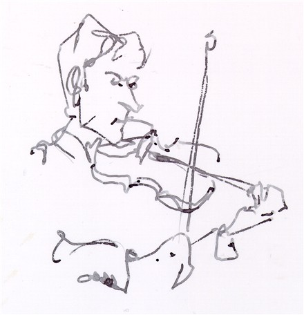 440x456 Zach Brock Violin Ink Drawing Jazz Musician Chris Carter Artist