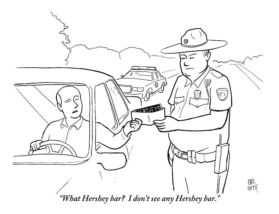 900x690 A Man Attempts To Bribe A Traffic Police Officer Drawing By Paul Noth