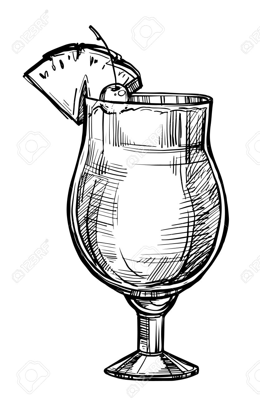 834x1300 Alcoholic Cocktail Hand Drawn Sketch Vector Illustration. Vintage