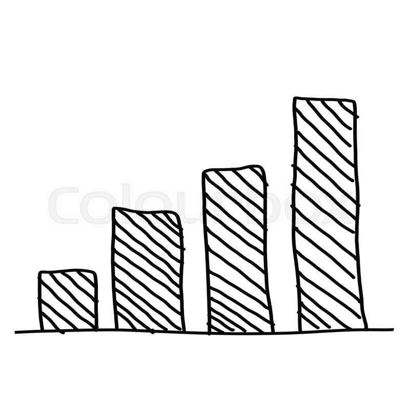 800x800 Business Bar Graph Create In The Hand Drawn Isolated On White