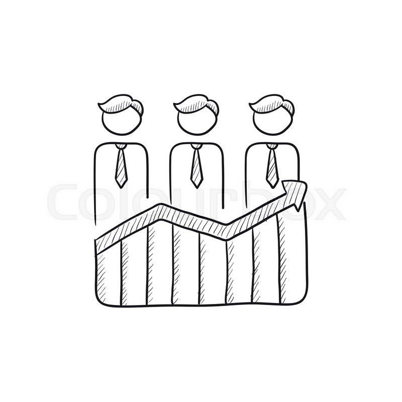 800x800 Businessmen Standing On Profit Graph Vector Sketch Icon Isolated