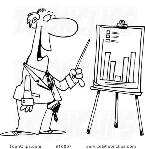 581x600 Cartoon Black And White Line Drawing Of A Business Man Discussing