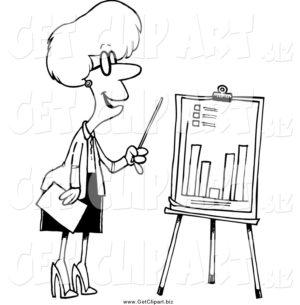 1024x1044 Clip Art Of A Black And White Businesswoman Presenting A Bar Graph