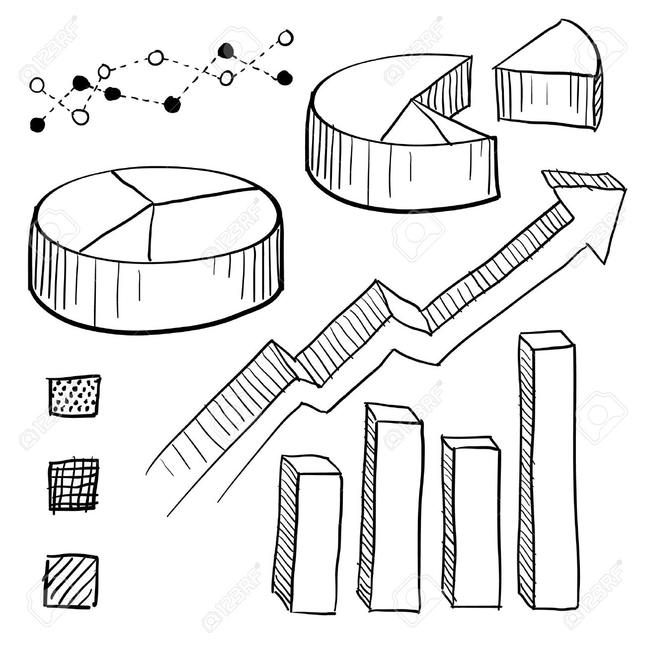 1300x1300 Doodle Style Charts, Graphs, And Plotting Components Illustration
