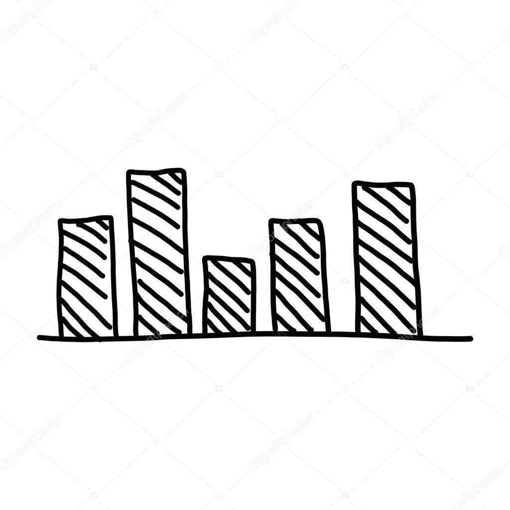 1024x1024 Hand Drawn A Business Bar Graph Show To Concept Of Data Processi