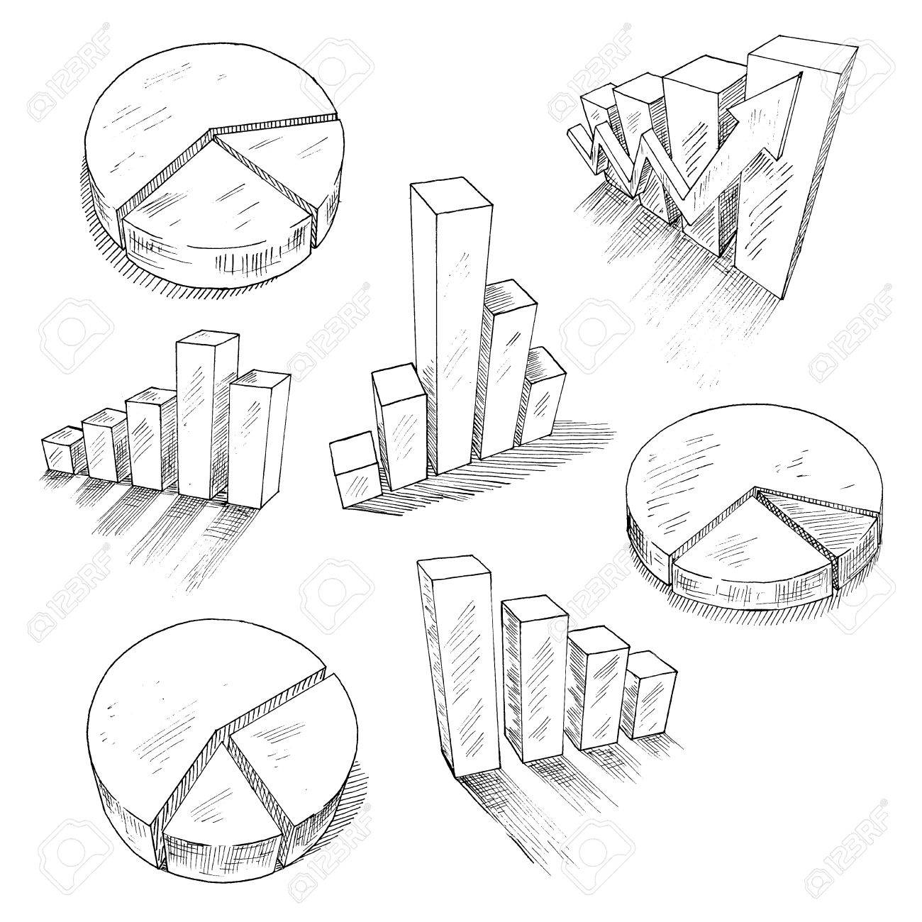 1300x1300 Sketched 3d Charts And Graphs With Different Bar Graphs And Pie