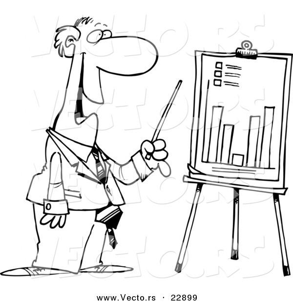 600x620 Vector Of A Cartoon Businessman Discussing A Bar Graph