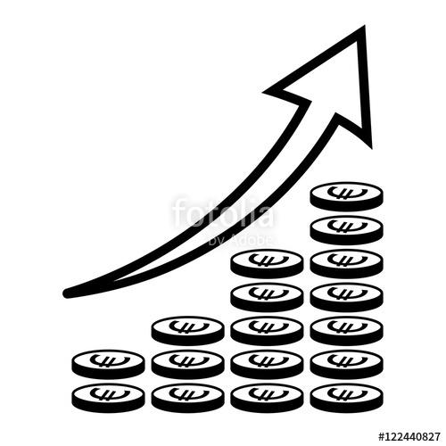 500x500 Vertical Bar Graph, Diagram Representing Growth Icon. Arrow Graph