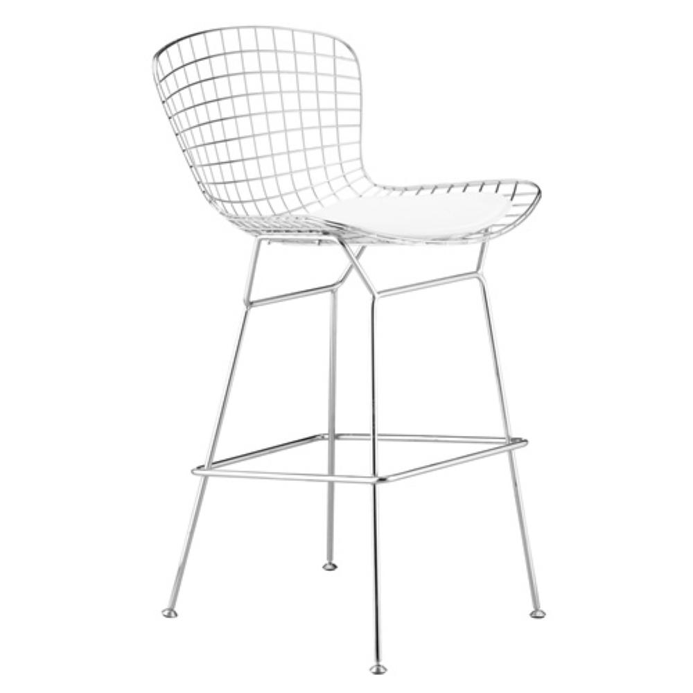 1000x1000 41 In. White Wire Bar Height Chair Fmi1136 White