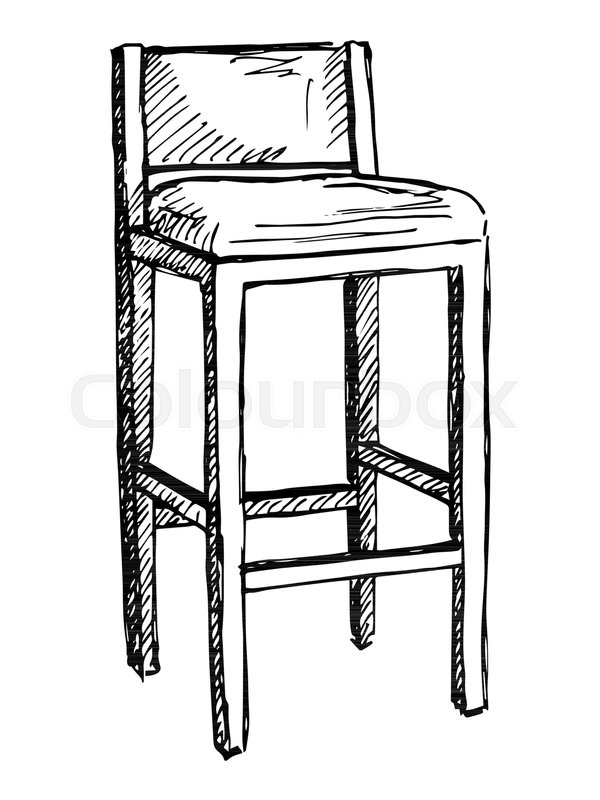 600x800 Bar Chair Isolate On White Background. Vector Illustration In