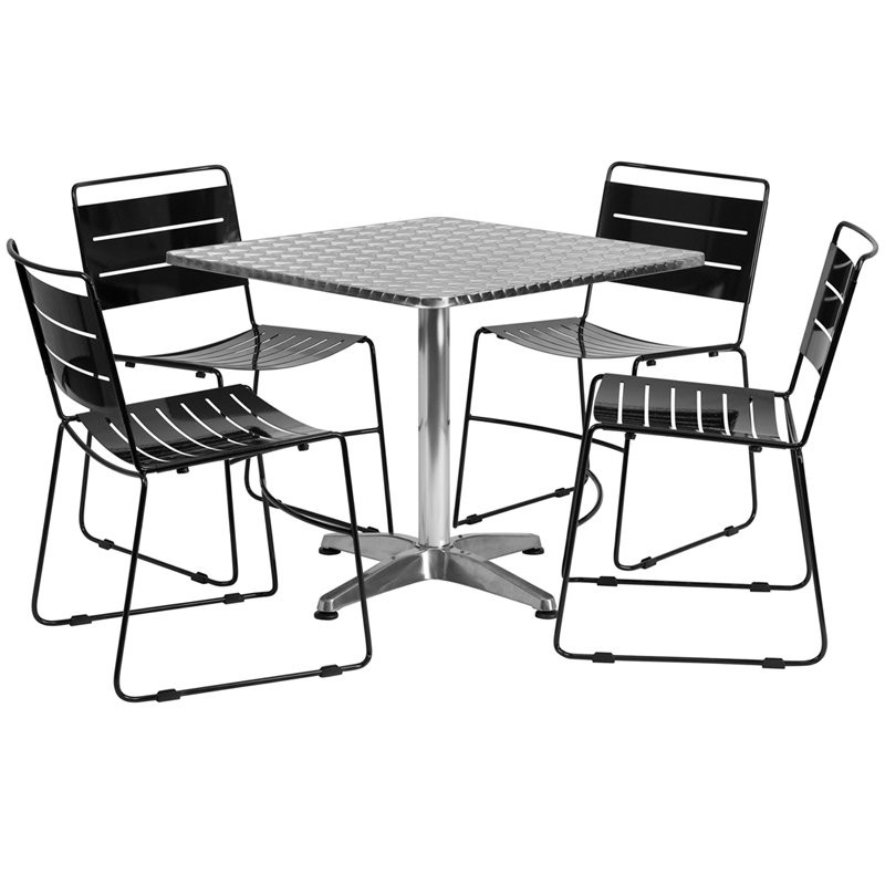 800x800 Skara 31.5'' Square Aluminum Indoor Outdoor Table Set With 4 Black