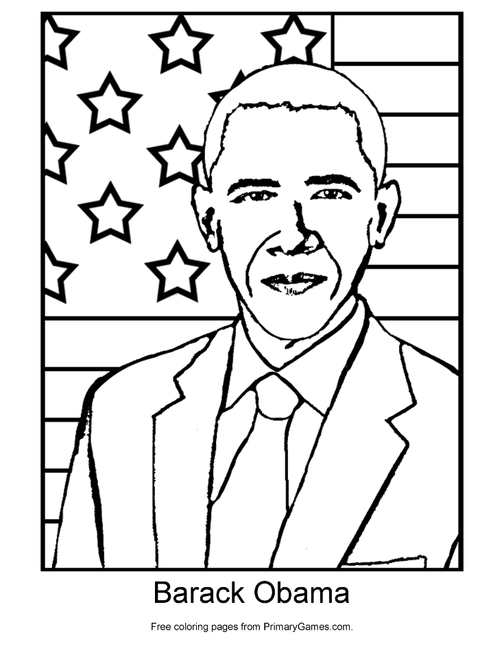 735x951 Barack Obama Coloring Page Printable President's Day Coloring
