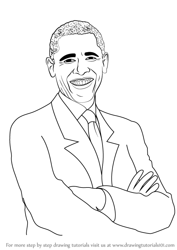 598x844 Learn How To Draw Barack Obama (Politicians) Step By Step