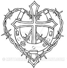 236x238 Cross With Horseshoe And Barbed Wire Tattoo By Metacharis Tattoo