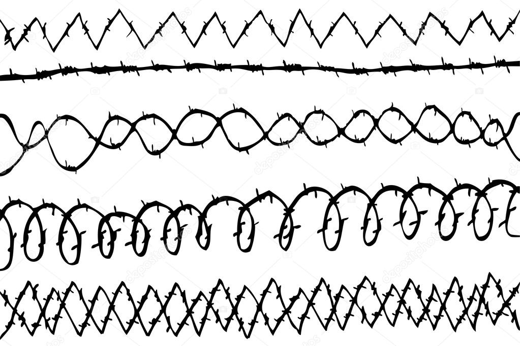1023x682 Hand Draw Sketch Of Various Seamless Barbed Wire Stock Photo