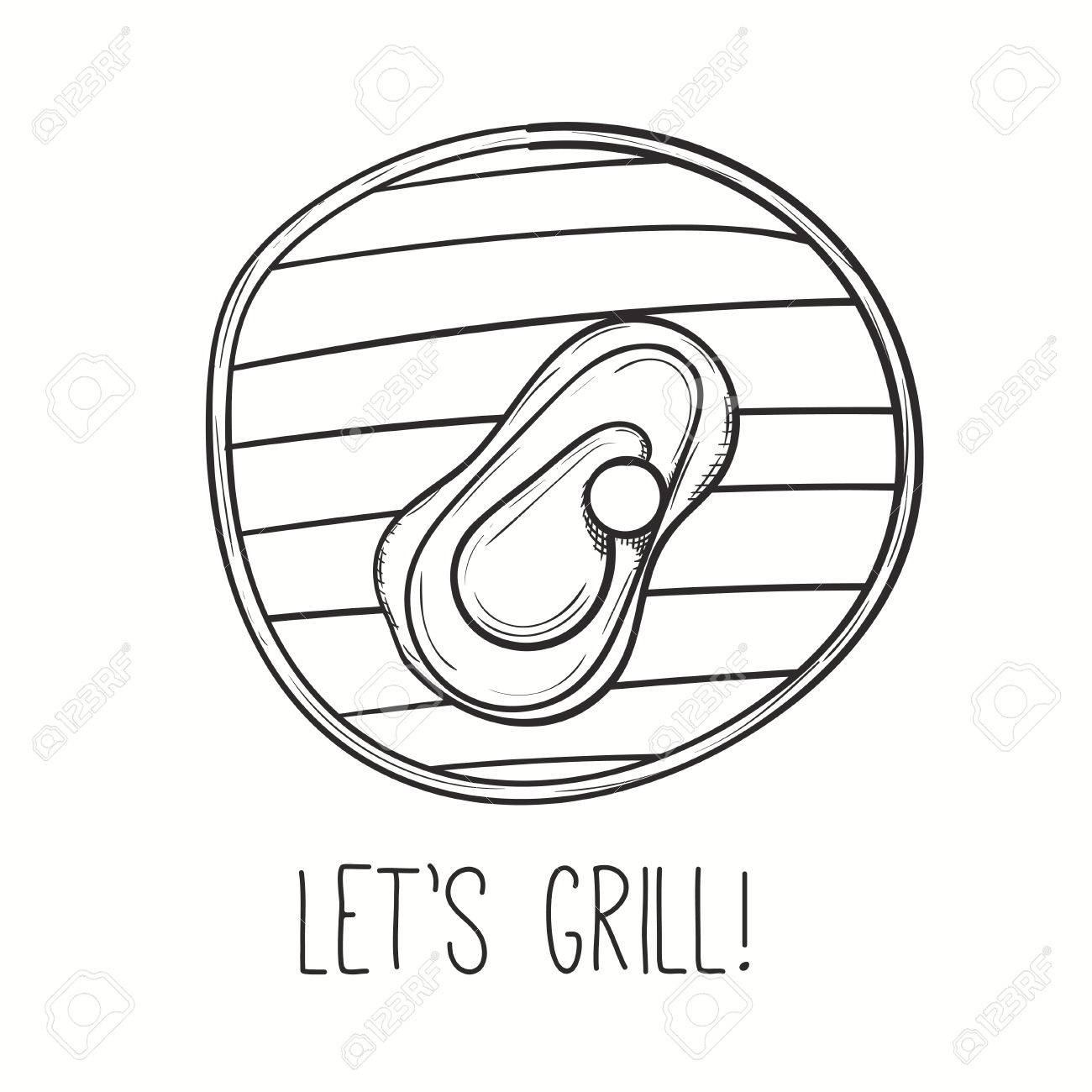 1300x1300 Grill Illustration With Meat. Vector Steak On Grill. Hand Drawn