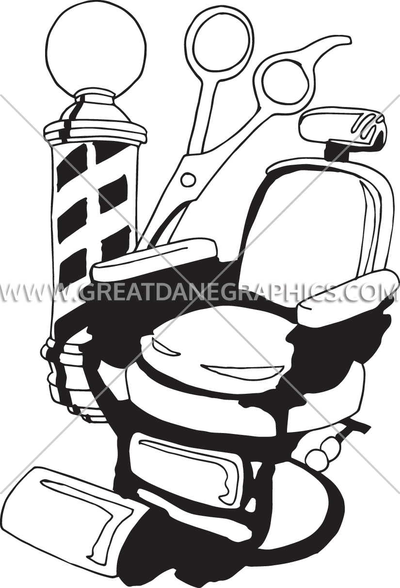 825x1214 Barber Chair Production Ready Artwork For T Shirt Printing