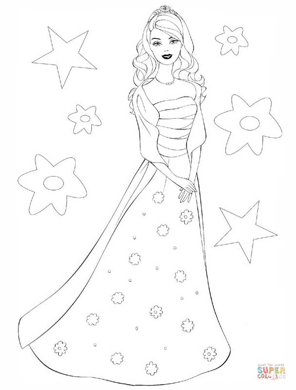 606x798 Barbie Princess Coloring Page Free Printable Coloring Pages