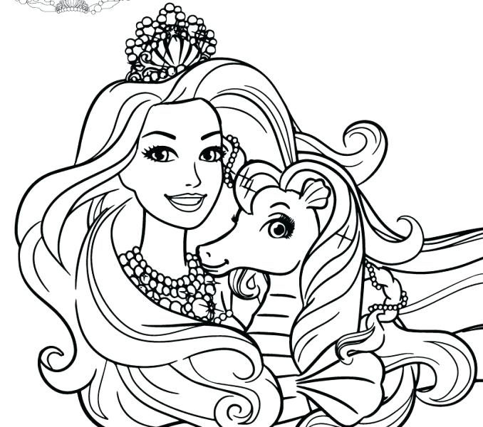 678x600 Barbie The Pearl Princess Coloring Pages Drawing Kids