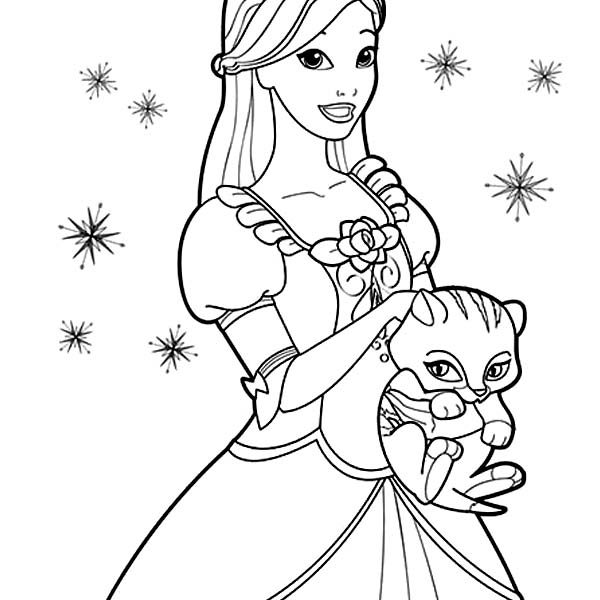 600x600 Princess Cat Coloring Pages Cute Cat And Barbie Princess Coloring