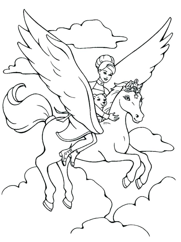 728x971 Barbie Horse Coloring Pages