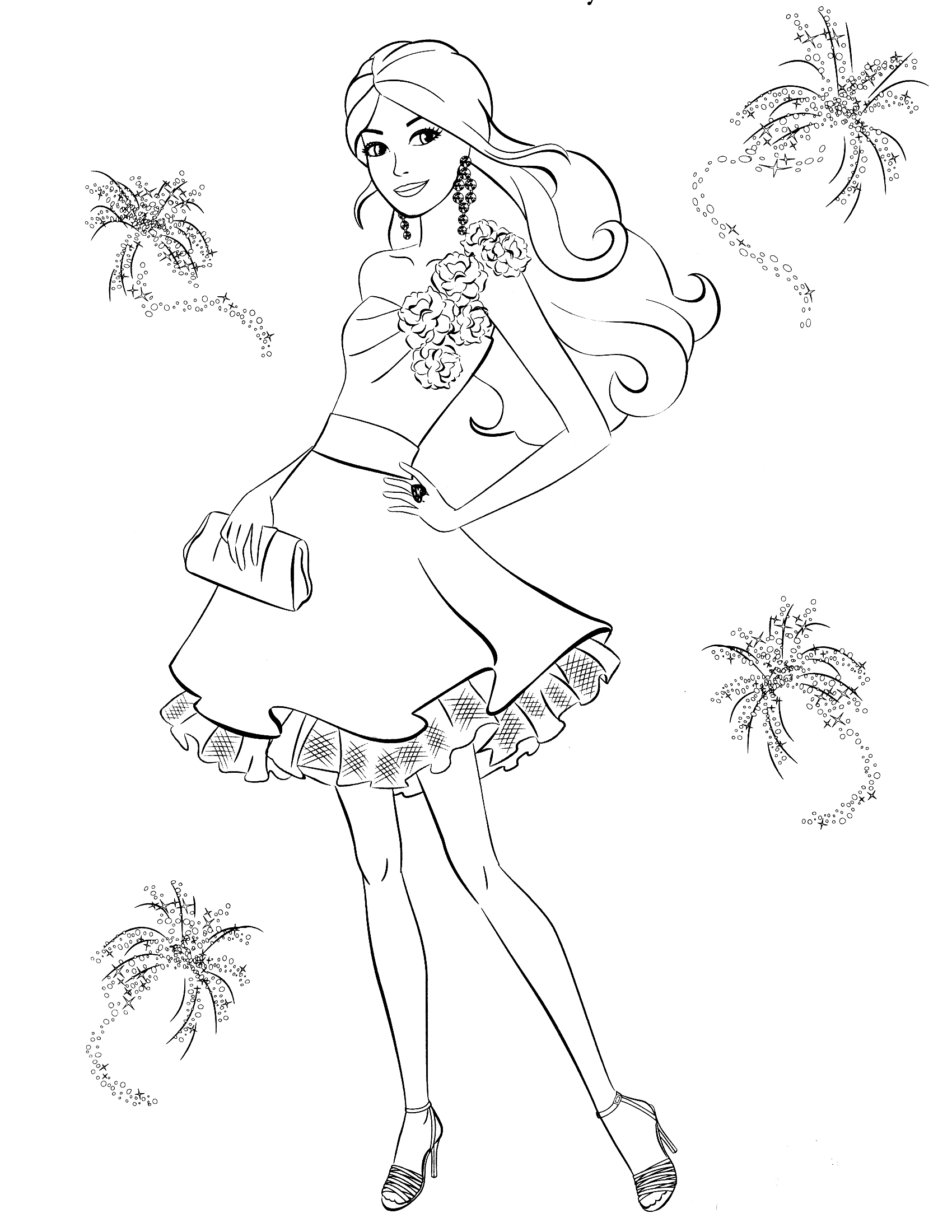 1700x2200 Free Barbie Colouring Pages