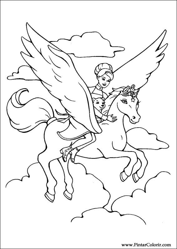 567x794 Drawings To Paint Amp Colour Barbie Magic Pegasus