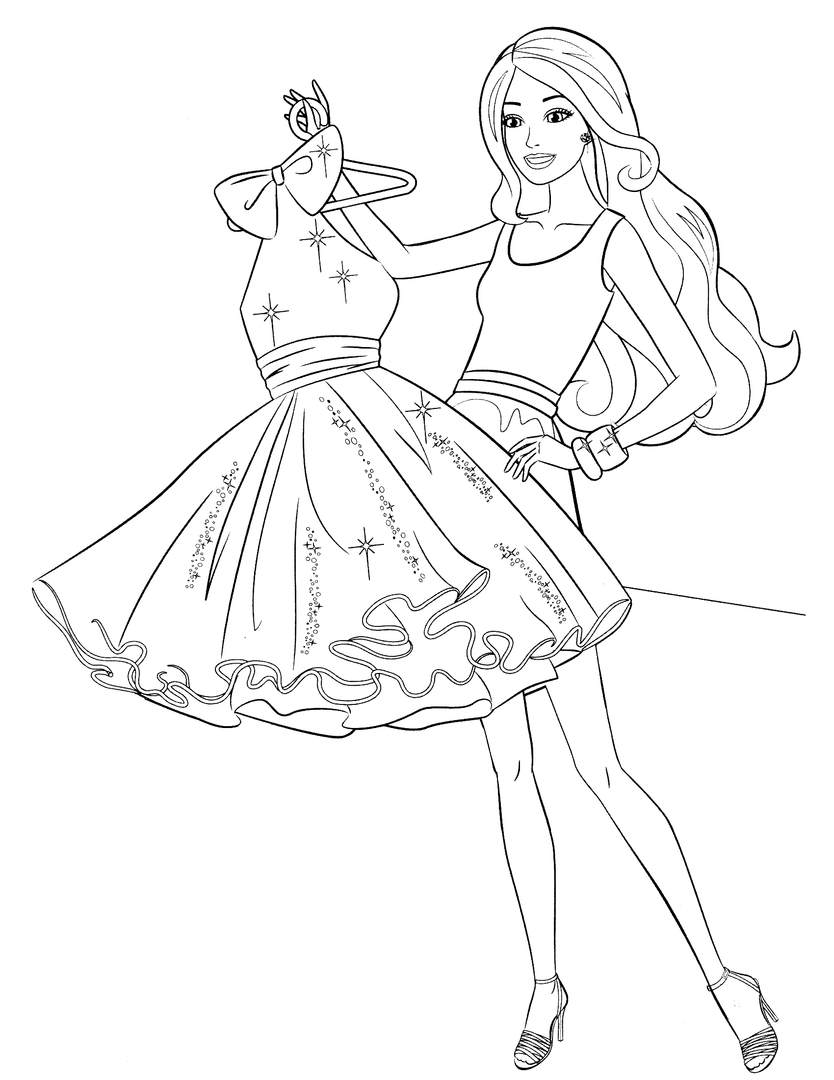 1700x2200 Barbie Printable Coloring Pages Free Best Adresebitkisel Drawing