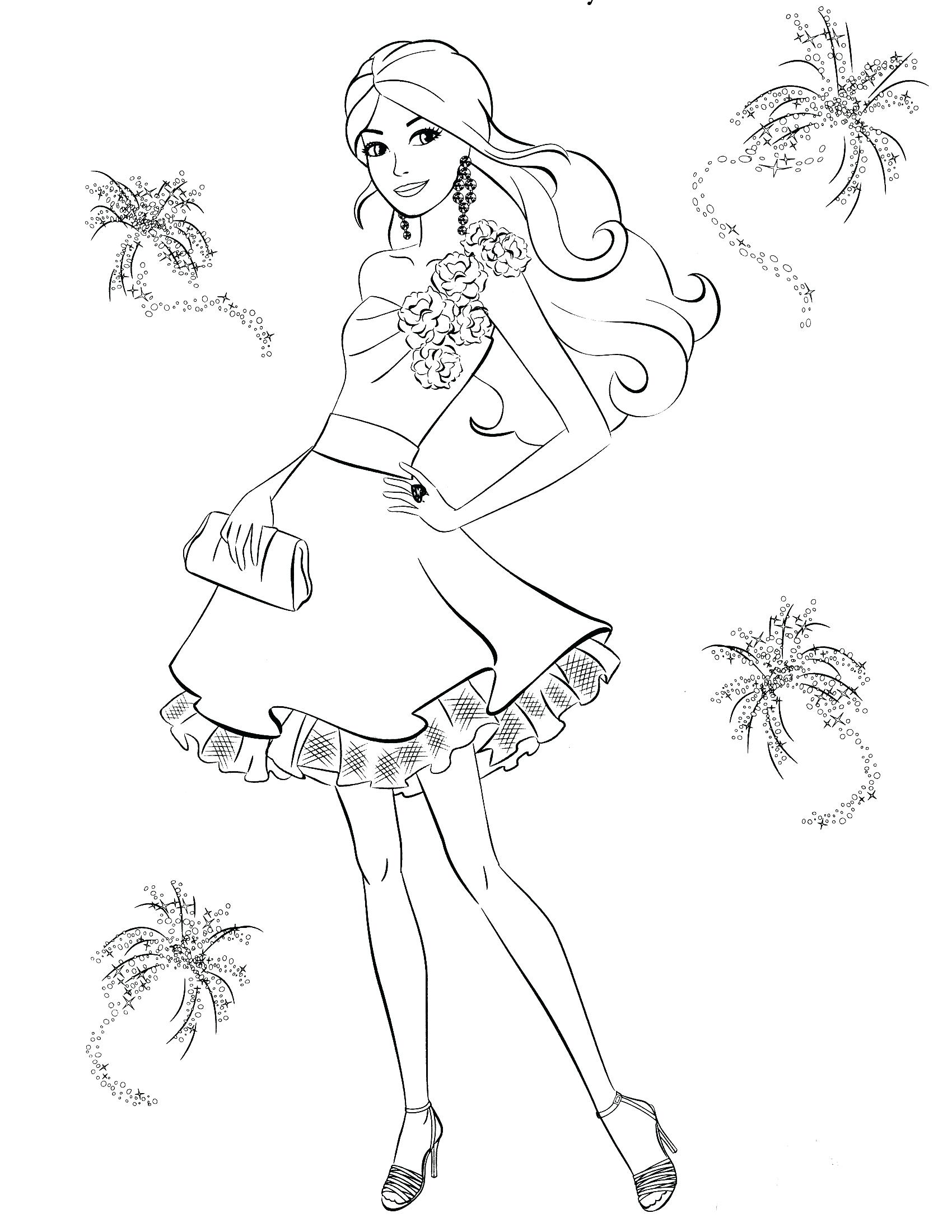 1700x2200 Barbie Dancing Princesses Coloring Pages Keira Pop Star Colouring