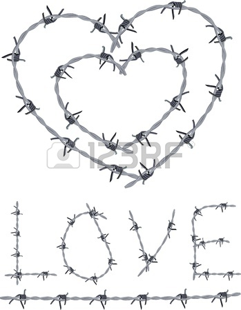 349x450 Heart Of Barbed Wire, Love Written With Barbed Wire Royalty Free