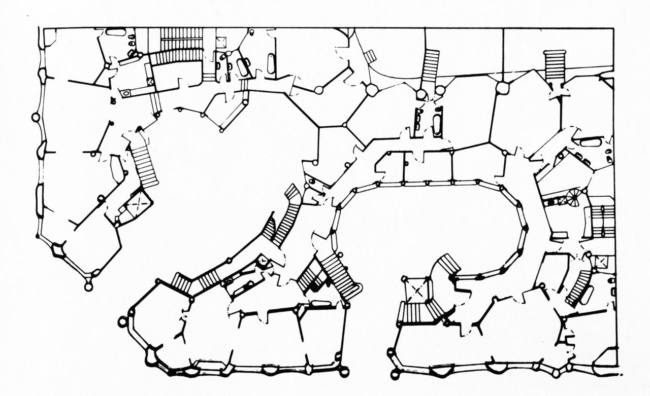 1280x781 Antoni Gaudi, Casa Mila, Typical Floor Plan, Barcelona, Spain