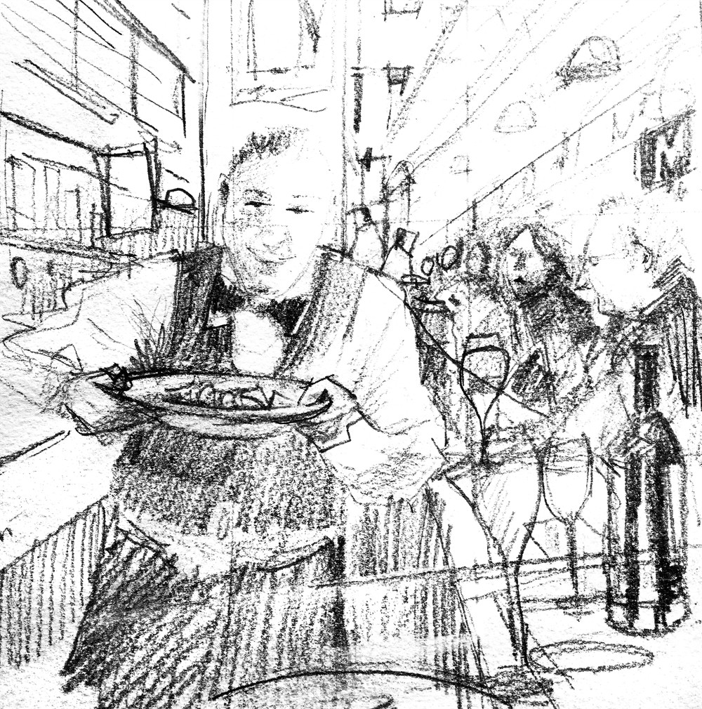 1000x1010 Sketchbook Sketch For Barcelona Bar Painting By Mark Buck