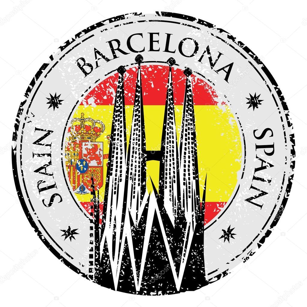 1024x1024 Grunge Rubber Stamp Of Barcelona, Spain, Vector Stock Vector
