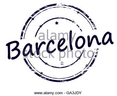 389x320 Barcelona Blue Round Grunge Stamp Stock Vector Art Amp Illustration