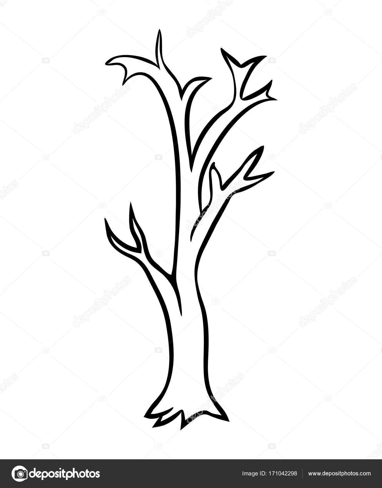 1332x1700 Bare Tree Cartoon Outline Vector Design Isolated On White Backgr