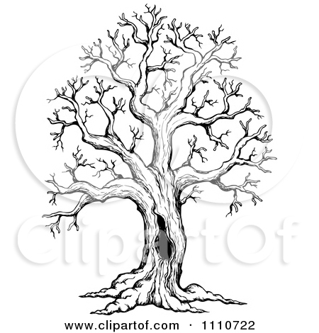 450x470 Clipart Black And White Sketched Hollow Bare Tree