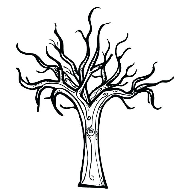 618x632 Bare Tree Coloring Page
