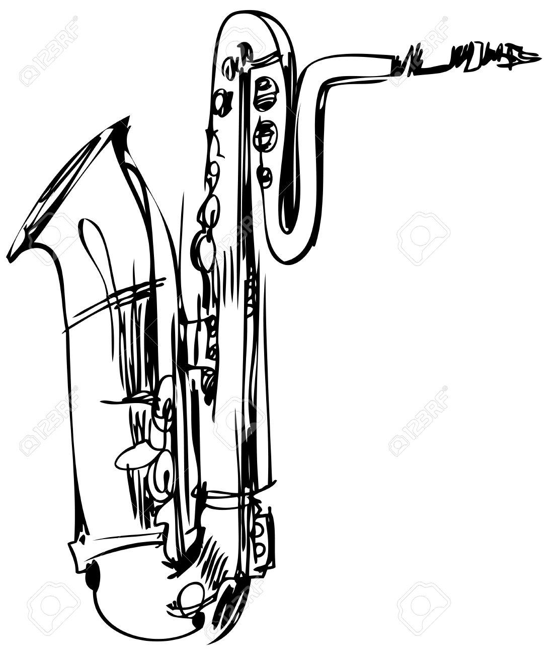 Bari Sax Drawing