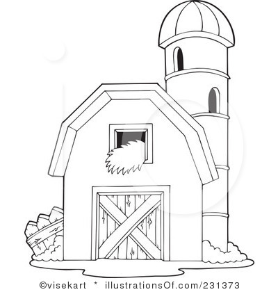 400x420 Black And White Cartoon Barn Royalty Free RF Clipart
