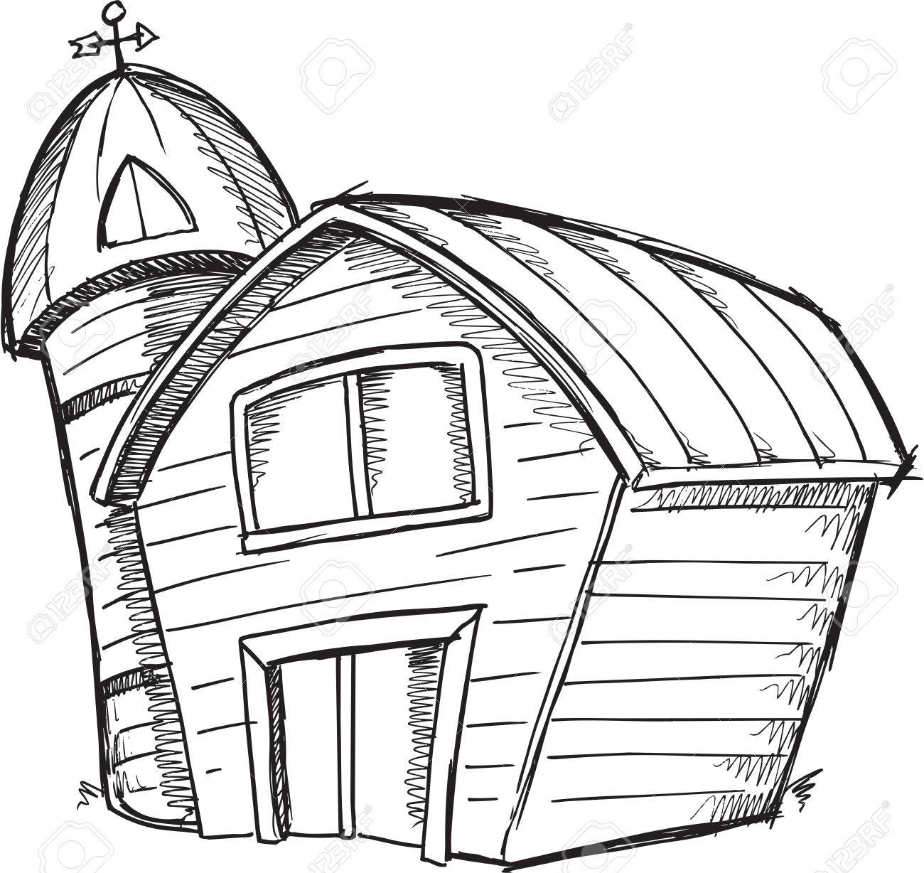 1300x1228 Doodle Sketch Barn Vector Illustration Art Royalty Free Cliparts