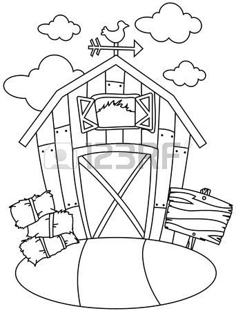 342x450 Line Art Illustration Of A Barn House Stock Photo, Picture
