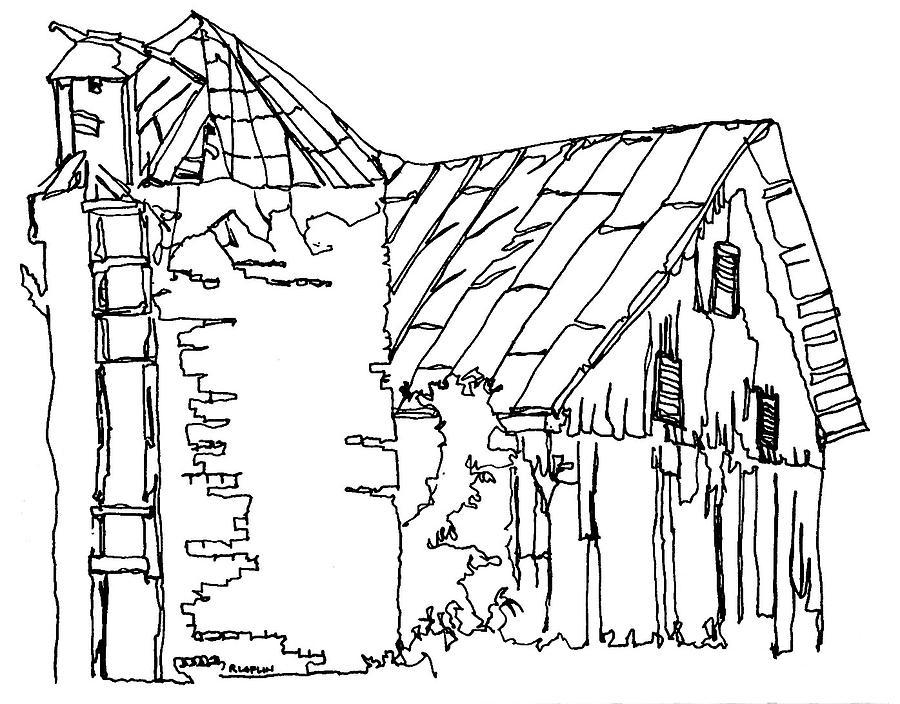 900x704 Barn No.4 Drawing By Rob Loflin